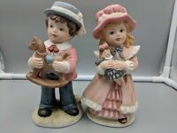 Homco #1419 Victorian Boy and Girl Bisque Porcelain Figurines w/ Christmas Toys
