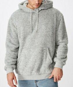 Cotton On men's drop shoulder teddy fleece hood size XL light grey marle