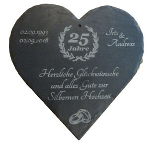 Schieferherz zur Silberhochzeit mit individueller Gravur (23 x 23cm)