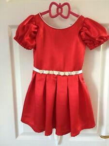 Handmade Girls Satin Red Dress Age 3-4 years Pearls & Roses decoration