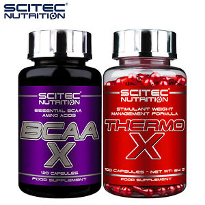 BCAA X 100 Caps. + THERMO X 100 Caps. - Whey Protein Amino Acids & Fat Burner