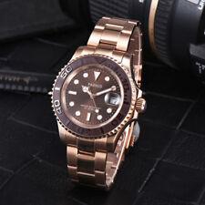 41 mm Oro Rosa parnis caso Miyota 8215 Movimiento Automático Reloj para Hombres Dial de café