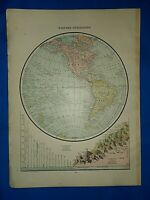 Vintage 1892 Atlas Map ~ WESTERN HEMISPHERE of the WORLD ~ Old Antique Original