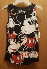 Disney Mickey Mouse Tank Top Juniors size XS 1 Black Red Panel Print NEW
