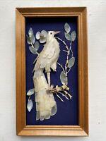 Vintage Bird Of Paradise Sea Shell Art Framed Wall Hanging