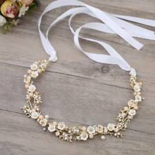 Flower Crystal Tiaras Pearls Jewelry Wedding Vine Handmade Headband Hair Jewelry