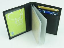 Black Genuine Full Grain Leather Card Holder w/Plastic Insert