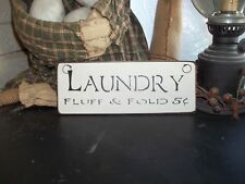Wood Sign LAUNDRY Prim/Handmade Rustic Country Home Wall Hanging Sign Decor