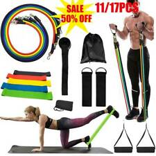 11-17PCS/Set Pilates Resistance Bands Yoga ABS Exercise Fitness Tube Workout Gym