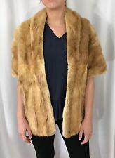 VTG 50s Blonde Mink Real Fur CAPE Stole Shawl Wrap WINTER WEDDING Jordan Marsh