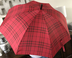 Burberry Fragrance Umbrella Red Black Plaid Check Wooden Handle NEW