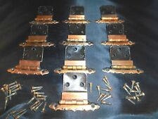 Hinges 10 Burnished Copper Look Cabinet Hinges w/screws Vintage Hardware
