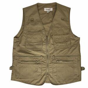 OlympinA Sz M Khaki Color Hunting Vest Safari Photography Utility Cargo Fishing