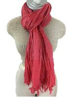 J Crew fashion scarf orange red long neck fringe pleats 72 x 21 metallic stripe