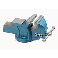 "CLARKE CV100B Metalwork Fixed Bench Vice Jaw Opening 4"" 100mm Depth 55mm Blue6kg"