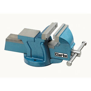 "CLARKE CV100B Metalwork Fixed Bench Vice Jaw Opening 4"" 100mm Depth 55mm Blue6kg"