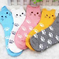 Accessories Girls Candy Color Women's Socks Cat Footprints Cotton Tube Socks