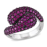 Amour Sterling Silver Created Ruby Bypass Ring