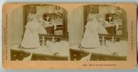 Little Girl and mirror , Doll Vintage Stereoview Photo 1897