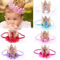 Qu_ KQ_ Baby Girls Princess Queen Tiara Hair Band Headband Crown Lace Flower Hea