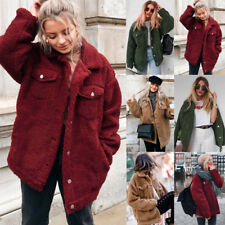 UK Womens Teddy Bear Pocket Fluffy Coat Fleece Fur Jacket Outwear Button Hoodies