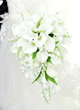 White Waterfall Calla Gorgeous Wedding Bridal Bouquet Bride Hand Flower Brooch