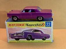 Rare Matchbox Superfast No. 22 Pontiac Coupe Light Purple Body With Box