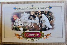 2001 Collector'S Edition Porcelain Santa and Sleigh Set Reindeer Grandeur Noel