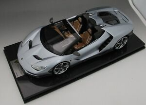 1/12 scale Looksmart Lamborghini Centenario Roadster Silver  Carbon Fiber Base