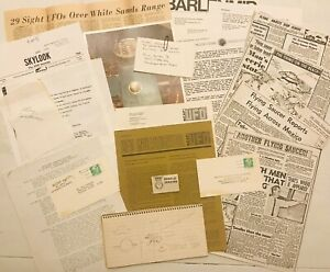 Huge Lot Of Vintage UFO Info. Membership Badge Letters Notebook Notes NICAP