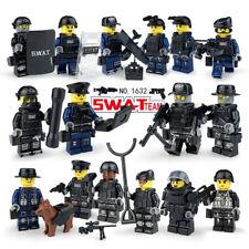 SWAT Military Lego Black Cops Teams Figure Set City Police Weapon Block forLego