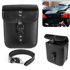 Black PU Leather Motorcycle Side Saddlebag Storage Bag Tool Pouch w/Chrome Studs