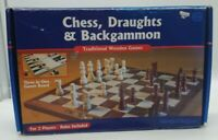 Hawkins bazaar Wooden Chess Set Board Game Checkers Backgammon Draughts