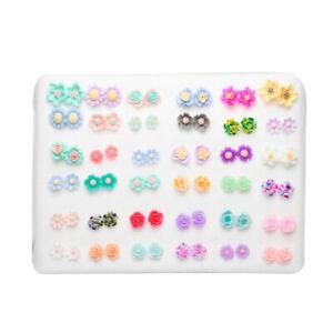 36 Pairs Stud Earring Set Plastic Post Clear Crystal Ear Stud Earring Set