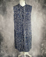 HOBBS Navy Blue & White Oversized Shirt Dress Sleeveless UK 12
