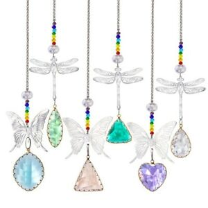 6Pcs Colorful Crystal Hanging Ornament Suncatchers Garden Home Office Decor Gift