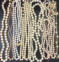 VINTAGE JEWELRY REPAIR CRAFT LOT FAUX PEARL BEAD NECKLACE