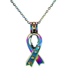 Rainbow Color Ribbon Kitten Cat Footprint  Beads Cage Locket - Necklace C646