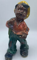Ceramic Hobo Figurine Boy Vintage Handpainted Poor Holey Sack Backpack Vagabond