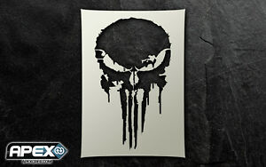Punisher Pain Inspired Quality Stencil Art - Special Ops Airsoft Skull Patriot