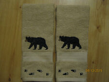 NWT 2 BLACK BEAR with BEAR TRACKS Embroidered Hand Towels,Northwoods cabin decor