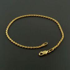 """Vintage Italian Vermeil Gold over Sterling Silver Rope Bracelet 7"""" Stamped 925"""