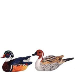 Dollhouse Wood Duck Decoy Pair Sitting/Swimming Bird Miniature Hunting