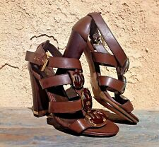 JEAN-MICHEL CAZABAT PARIS CHUNKY HEEL BROWN LEATHER SANDALS, GOLD ACCENTS 5 M