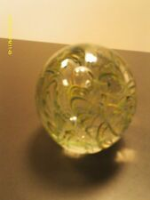 """4""""T glass paperweight clear with blue & green swirls & waves"""