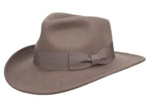 Premium Wool Felt Indiana Jones Fedora Hat w/Grosgrain Band Crushable Outback