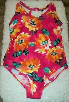 Kona Sol One Piece Pink Tropical Floral Swimsuit 20W Strappy Back Back Detail