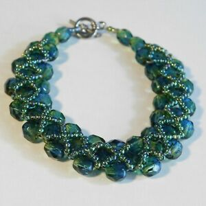 Vintage Bracelet Bangle seed bead glass blue and green faceted costume Jewellery