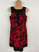 WOMENS MONSOON BLACK/RED FLORAL SLEEVELESS SUMMER EVENING WORK SHIFT DRESS UK 12