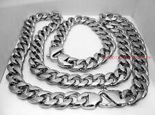 15mm Stainless Steel Cuban Curb Link Chain Retro Clasp Men Necklace Bracelet Set